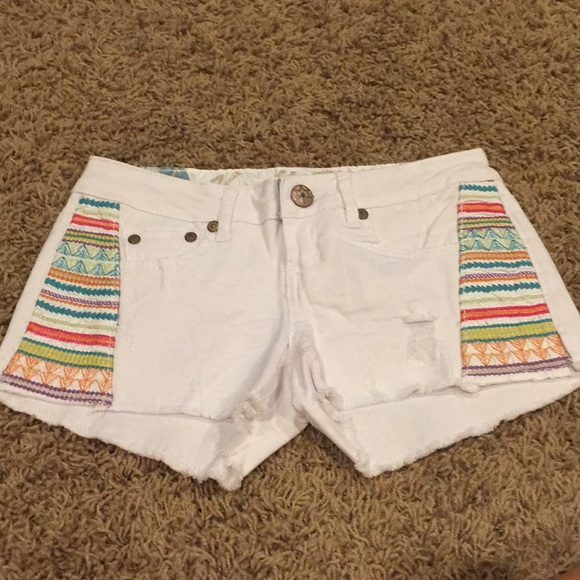 Vanilla Star Pants - White Denim Shorts with Colorful Embroidered Sides